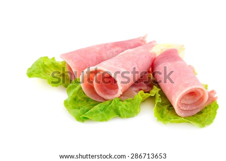 Bacon with lettuce isolated on white background. - stock photo
