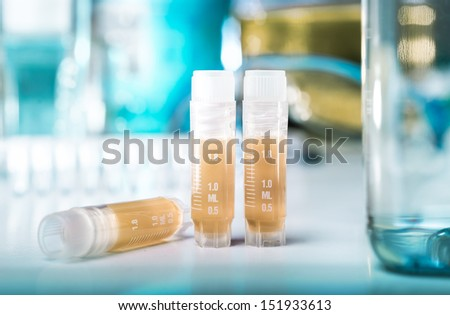 Bacterial cryosamples for long-term storage of genetically modified DNA - stock photo