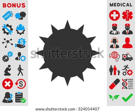 Bacterium illustration icon. Style is bicolor flat symbol, blue and gray colors, rounded angles, white background. - stock photo