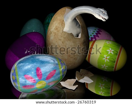 Bad easter eggs with dinosaurs inside. Digitally created image. - stock photo