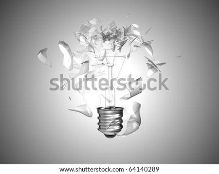 Bad idea. Crushed lightbulb over grey background - stock photo