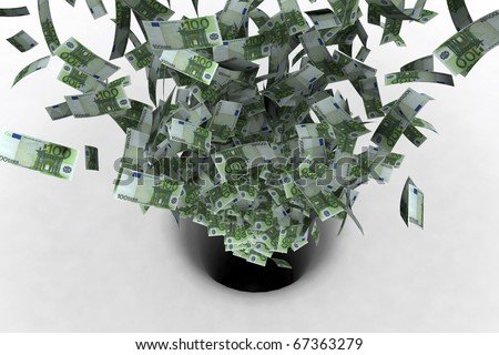 bad investmet icon; euros disappearing into a black hole - stock photo