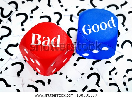 Bad or Good word on question mark background - stock photo