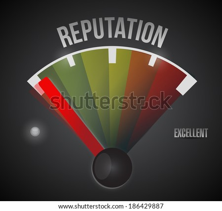 bad reputation speedometer illustration design over a black background - stock photo