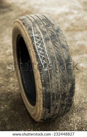 bad tire wheel - stock photo