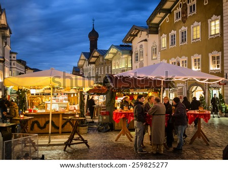 BAD TOELZ, GERMANY - DECEMBER 15: people at the famous christmas market on December 15, 2014 in Bad Toelz, Germany - stock photo