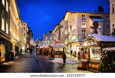BAD TOELZ, GERMANY - DECEMBER 26: people at the famous christmas market on December 26, 2014 in Bad Toelz, Germany - stock photo