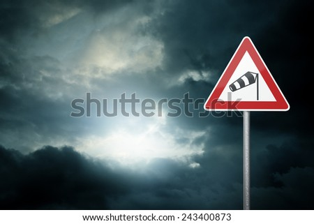 Bad Weather - Caution - Risk of Storm - Warning Sign  - stock photo