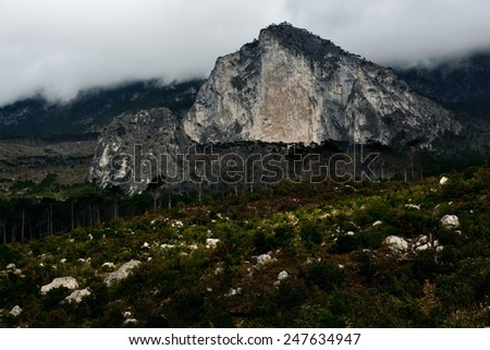 bad weather in mountainous terrain. yalta mountain-forest nature reserve. low key - stock photo
