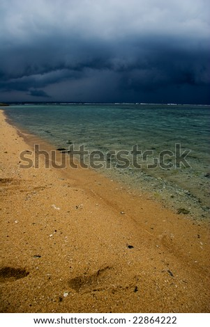 Bad weather of tropical beach. Sanur beach on Bali island. Indonesia - stock photo