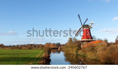 Bad Zwischenahn, Germany: Windmill in the open-air museum of the old peasant homes - stock photo