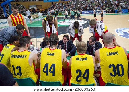 BADALONA, SPAIN - MAY 30: FCB players during a timeout at Spanish ACB Basketball League match between Joventut Badalona and FC Barcelona, final score 74-80, on May 30, 2015, in Badalona, Spain. - stock photo