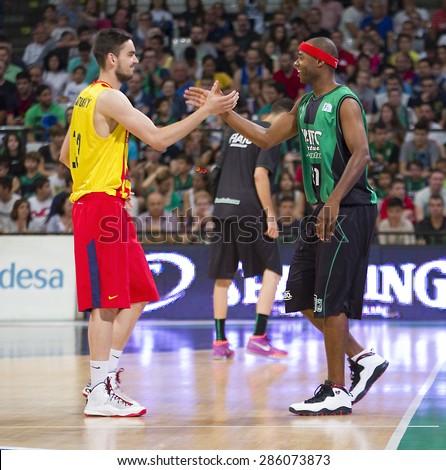 BADALONA, SPAIN - MAY 30: Tomas Satoransky and Tariq Kirksay at Spanish ACB Basketball League match between Joventut Badalona and FC Barcelona, final score 74-80, on May 30, 2015, in Badalona, Spain. - stock photo
