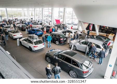 Baden-Baden, Germany - October 10, 2015: New models of the brand Audi in a dealer's showroom in Baden-Baden, Germany - stock photo