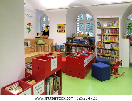 BADEN-BADEN, GERMANY - SEPTEMBER 23: Interior children's library in Baden-Baden.  The City Library Baden-Baden was on 1 April 1901 as a people's library with reading room. - stock photo
