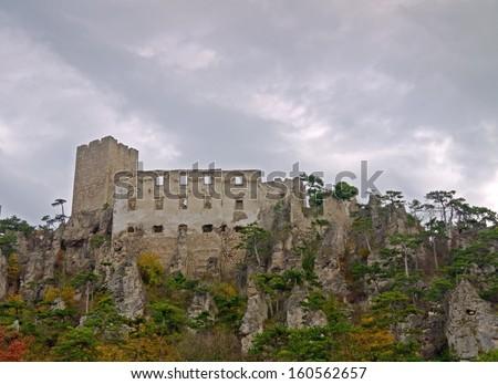 BADEN BEI WIEN, AUSTRIA - 29 OCTOBER 2013: The castle ruin Rauhenstein is an excursion destination in Lower Austria. Baden bei Wien, Oct 29 2013  - stock photo