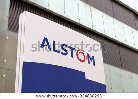 BADEN, SWITZERLAND. October 31, 2015. Last days of the Alstom logo in front of the building of thermal power headquarters before merger and acquisition of General Electric on 2nd November 2015. - stock photo