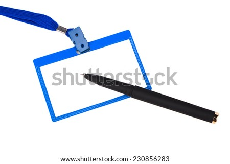 Badge and a black pen on a white background - stock photo