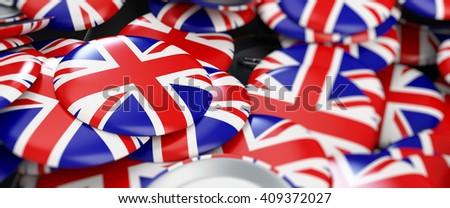 badge button United Kingdom flag 3d Illustrations background - stock photo