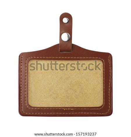 Badge close-up isolated over white background - stock photo