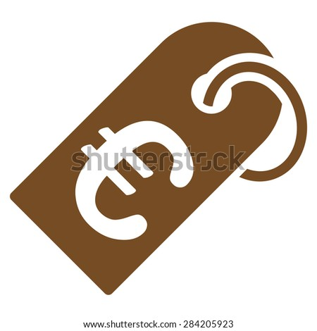 Badge from BiColor Euro Banking Icon Set. Glyph style: flat, brown symbol, rounded angles, white background. - stock photo