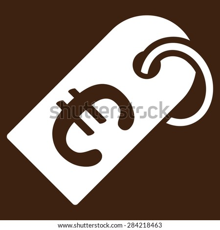 Badge from BiColor Euro Banking Icon Set. Glyph style: flat, white symbol, rounded angles, brown background. - stock photo