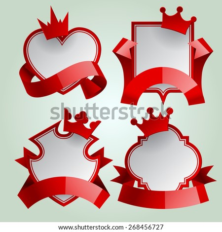 Badge set with red ribbon and paper crown. Retro design elements. Contain the Clipping Path - stock photo