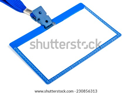 Badge with a blue plastic closeup on white background - stock photo
