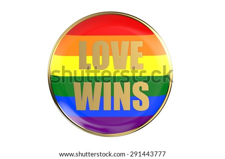 badge with rainbow flag, love wins concept isolated on white background - stock photo