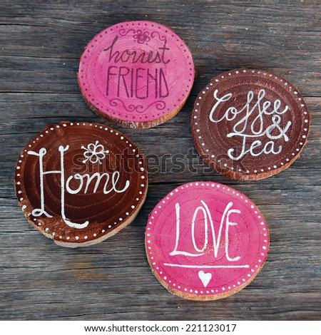 Badges with words home, love, coffee and tea - stock photo