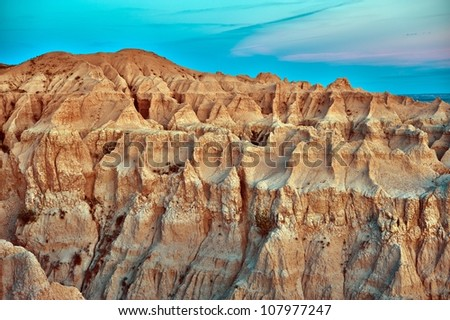 Badlands Erosion - HDR Photography. Badlands Scenic, South Dakota, USA. U.S. National Parks Photo Collection. - stock photo