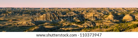 Badlands from the Painted Canyon Overlook in Theodore Roosevelt National Park near Medora, North Dakota - stock photo