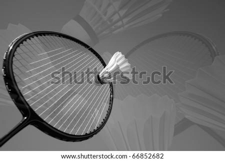 Badminton Action - stock photo