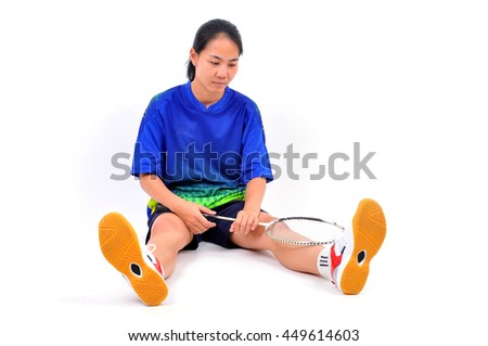 Badminton girls who failed in a bright blue sportswear. - stock photo