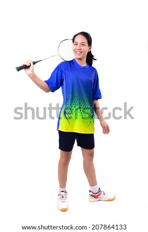 badminton player in action isolated on white background - stock photo