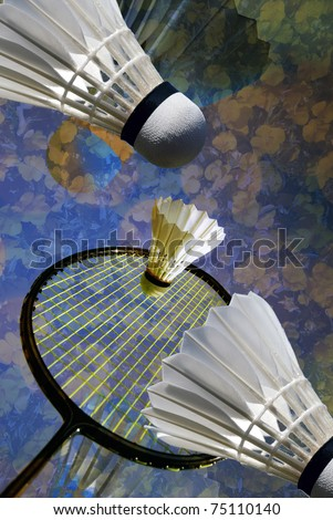 Badminton racket and shuttlecocks close-up in a vertical personal artistic collage - stock photo