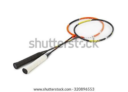 Badminton racket isolated on white background - stock photo