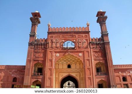 Badshahi Mosque Lahore East Main Entrance - stock photo