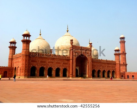 Badshahi Mosque Lahore, Pakistan One of the most famous landmarks and tourist destination of Pakistan built in 16th century is also one of the largest mosques in the world. - stock photo