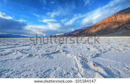 Badwater Salt lake at Death Valley - stock photo