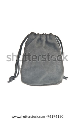 Bag, black pouch isolated on white background - stock photo