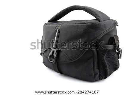 bag camera isolated white background - stock photo