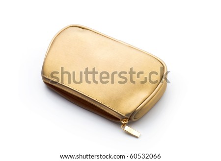 bag for cosmetics gold color, white background - stock photo