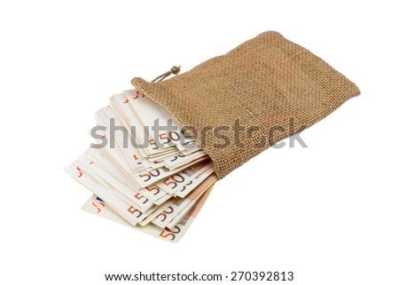bag full of banknotes - stock photo