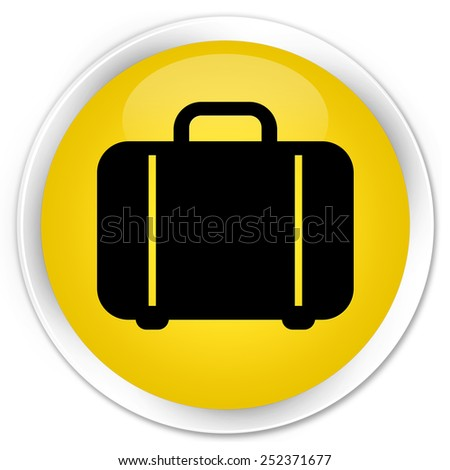 Bag icon yellow glossy round button - stock photo