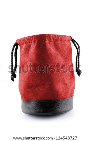 Bag leather color red  on white background with path - stock photo