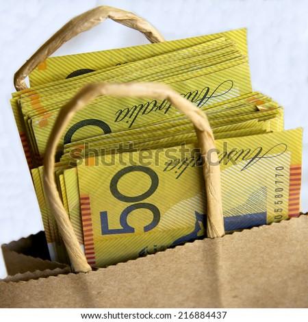 Bag of Australian Fifty Dollar Notes - stock photo