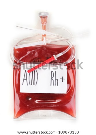 Bag of blood and infusion isolated on white - stock photo