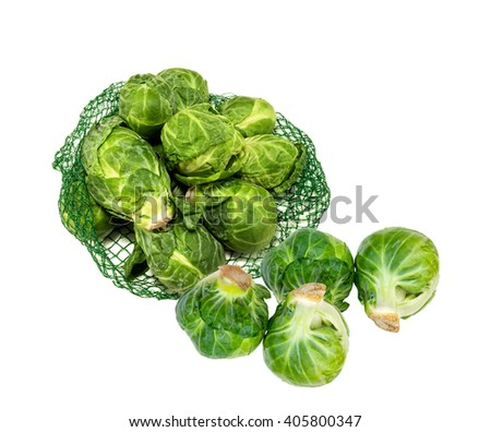 Bag of fresh Brussels sprouts - stock photo