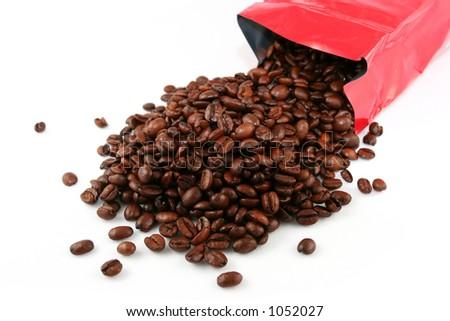 Bag of fresh coffee beans - stock photo